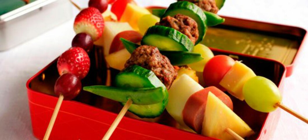 <strong>Brødspyd:</strong>: Brød, grønnsaker og kjøtt: På en ny måte! Foto: Frukt.no