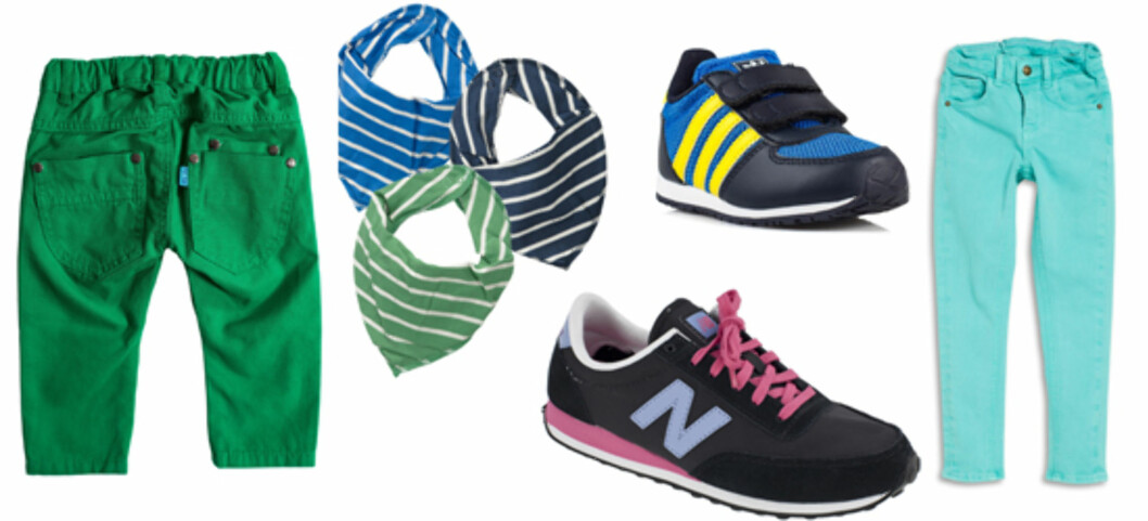 FRITID: F.v. bukse fra Mee too/Nelly.com str 86-98 (kr 199),  skjerf fra Nameit (kr 40, per stykk), sko til mor fra New Balance/Lille Vinkel (kr 798), sko til barn fra Adidas (kr 349) og bukse til større barn (86-122) fra Lindex (kr 149).