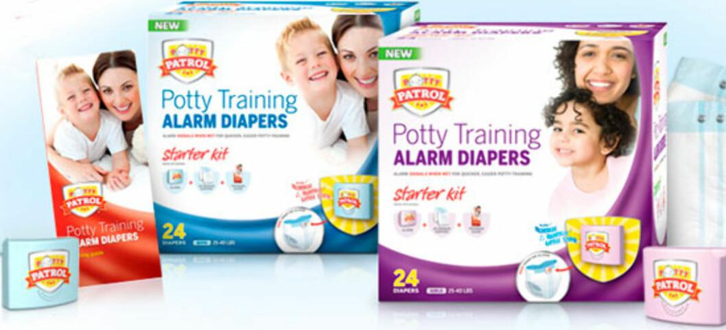 10 PRODUKTER FOR HØYTEKNOLOGISKE BABYER: Bleier med alarm - noe for deg? Foto: Produsenten.