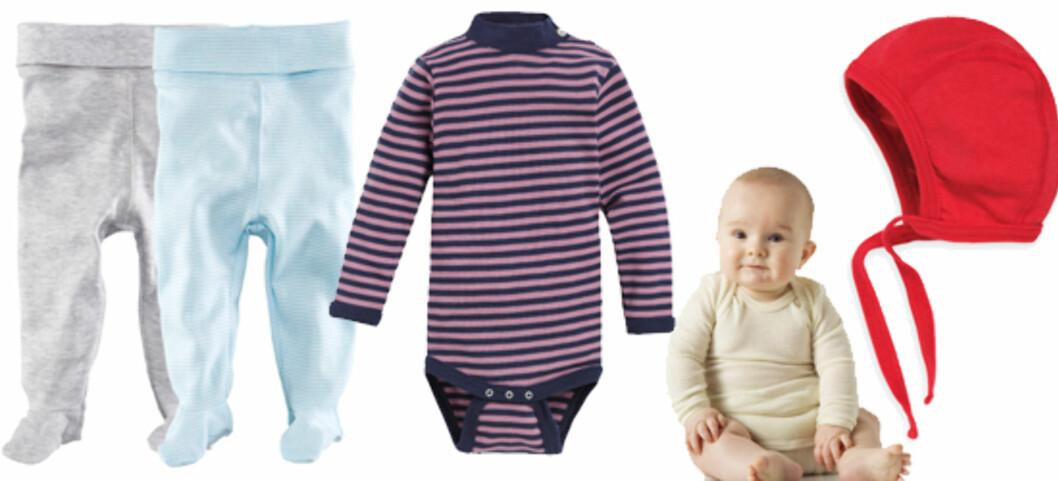DETTE TRENGER DU: F.v strømpebukser (kr 99 for to, H&M), body i ull (kr 268, Nøstebarn), body med lange ermer i merinoull (kr 218, Nøstebarn) og lue i ull og silke (kr 98, Nøstebarn).