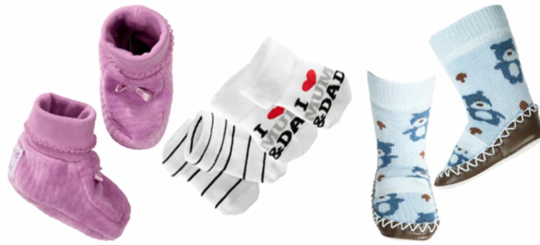 IKKE SKO: F.v. veloursokker (kr 50, Nameit), to par babysokker (kr 40, H&M) og sokker med skinnimitasjon under (kr 80, Nameit).