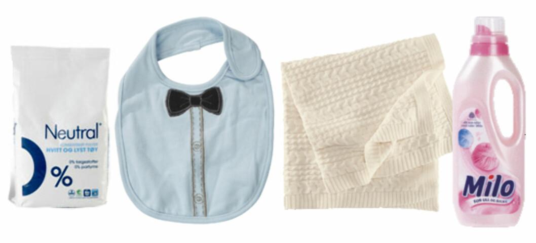 NYTTIG: F.v. Neutral vaskepulver skal være hudvennlig. Anbefalt av Norges Astma og Allergiforbund. Smekke fra Nameit (kr 50), babyteppe i polyamid, ull og bomull (kr 149, H&M) og Milo, eget vaskemiddel for ull og andre ømfintlige tekstiler.