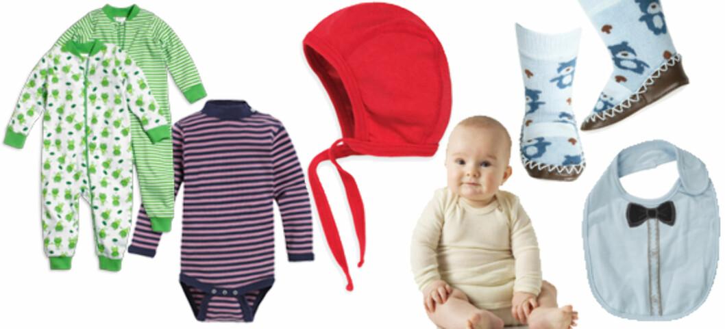 MYE UTSTYR: Et lite barn trenger et stort klesskap. Få våre tips til hva du behøver til din baby! Illustrasjonscollage: Kjersti Skar Staarvik Foto: Produsentene (se under)