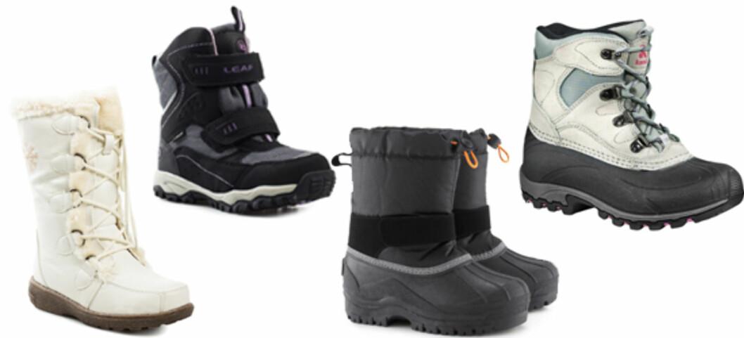 FOTTØY: F.v. Hvite vinterstøvler satt ned fra 459 til 235 kroner (Wildflower/Nelly.com), robuste vintersko satt ned fra 459 til 229 (Shoe design/Nelly.com), vinterstøvler satt ned fra 249 til 100 (H&M) og forede, vanntette vintersko satt ned fra 599 til 299 (XXL)