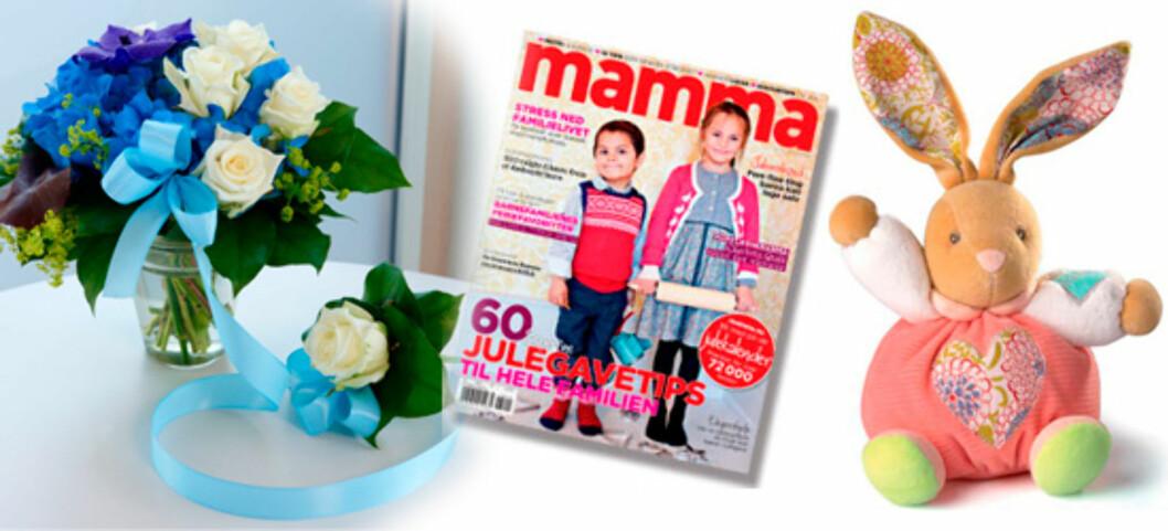 SØTE GAVER: Mor og barn-blomst fra Interflora, Mamma-magasin og en søt Plysjkanin fra Papirkompaniet.no.