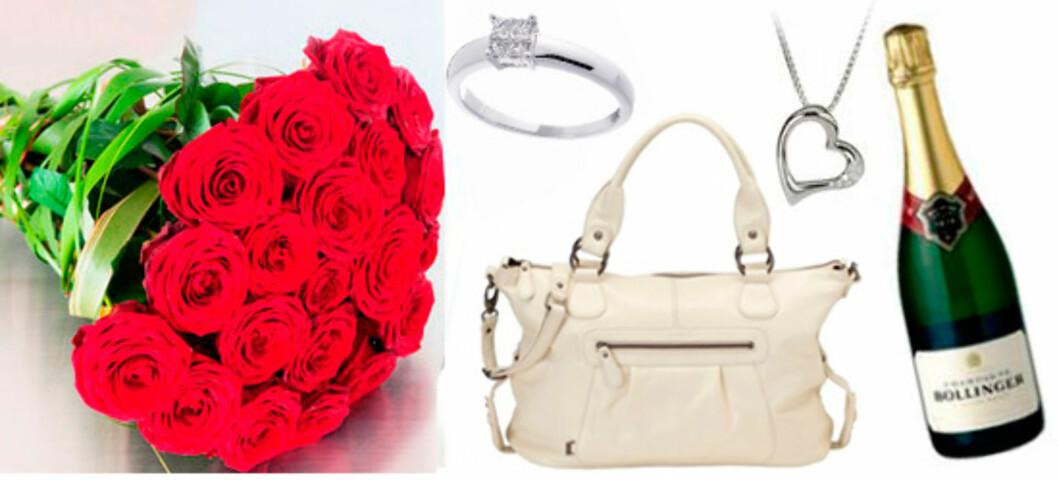 Vakre roser, stelleveske Oioi/Jollyroom, diamantring og kjede fra Thune eller hva med en flaske Bollinger?