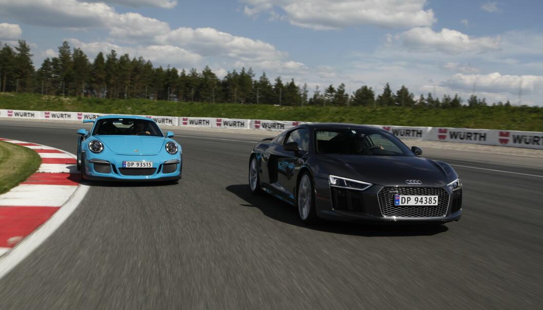 <strong>GRATIS HESTER:</strong> Som en følge av at effektkomponten fjernes, kan en bil ha som så mye krefter den bare vil uten at prisen øker. En Audi R8 V10 vil bli over 223.000 billigere, mens du kan spare 153.000 kroner på en Porsche GT3 RS. Foto: AUTOFIL&nbsp;