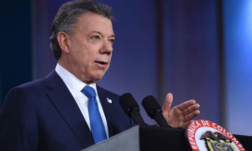 FREDSPRISVINNER: Juan Manuel Santos, president i Colombia. Foto: AFP / NTB Scanpix
