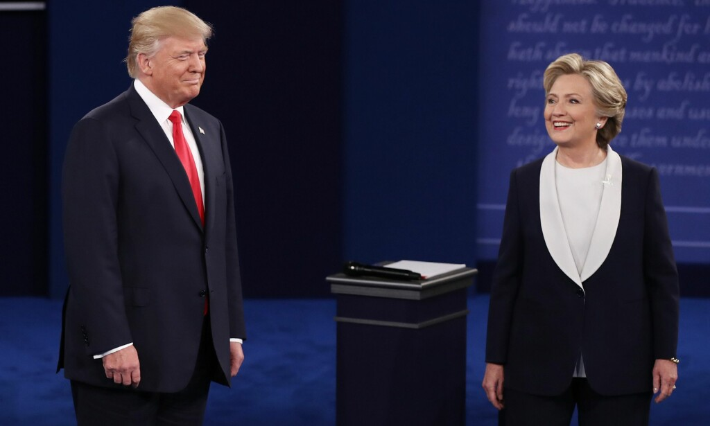 HILSTE IKKE: Donald Trump og Hillary Clinton. Foto: Win McNamee/Getty Images/AFP/NTB scanpix