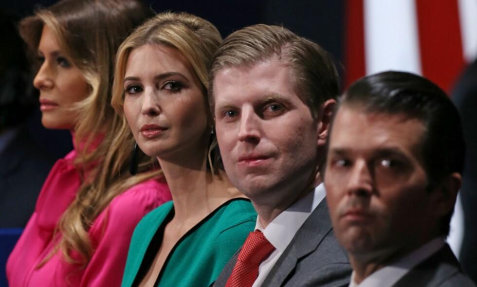 KAN FÅ VIKTIGE STILLINGER I ADMINISTRASJONEN: De tre barna Ivanka, Eric og Donald Jr., har selv tidligere sagt at de ikke kommer til å få noen formell rolle i en framtidig Trump-ledet regjering. Foto: AFP/Tasos Katopodis