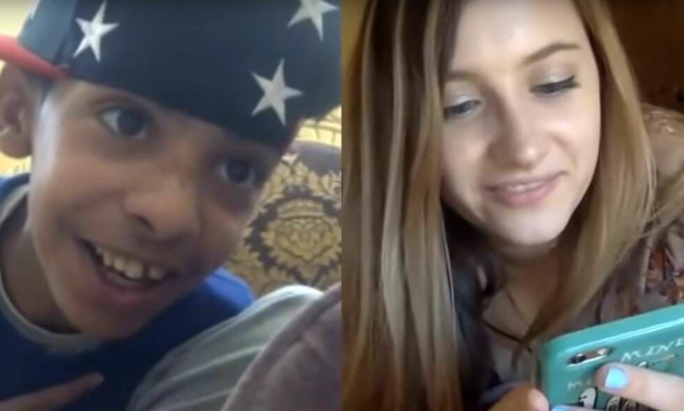FENGSLET: På videonettstedet Younow hadde den saudiarabiske tenåringen kjent som Abu Sin flere videosamtaler med den amerikanske 21-åringen Christina Crockett. De la så ut videoene på Youtube. Hundretusener så hvordan de to unge menneskene flørtet. Det fikk Abu Sin kastet i fengsel. Skjermdump: Youtube