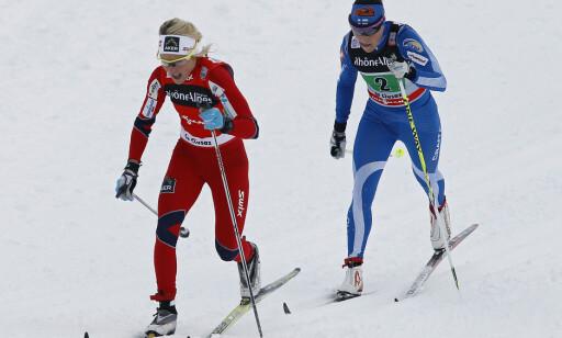 RIVALER: Aino-Kaisa Saarinen er sjokkert over Therese Johaugs positive dopingprøve. Foto: NTB Scanpix