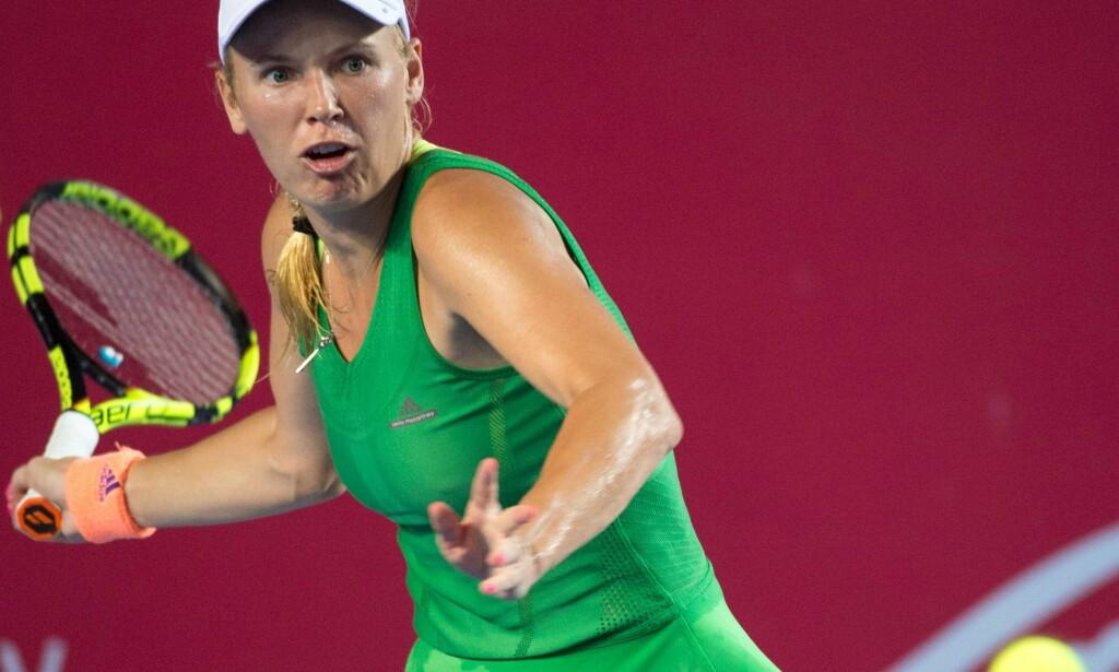 VANT: Caroline Wozniacki sikret seg søndag sin annen turneringsseier i 2016. Dansken slo franske Kristina Mladenovic 2-1 i sett i WTA-finalen i Hongkong. <div></div><div> Foto: AFP PHOTO / Jayne RUSSELL</div>