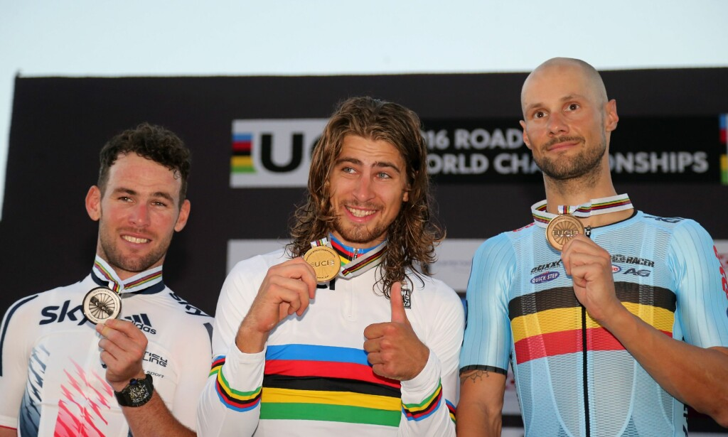 PALLEN: Mark Cavendish, Peter Sagan og Tom Boonen. Foto: AFP PHOTO / KARIM JAAFAR