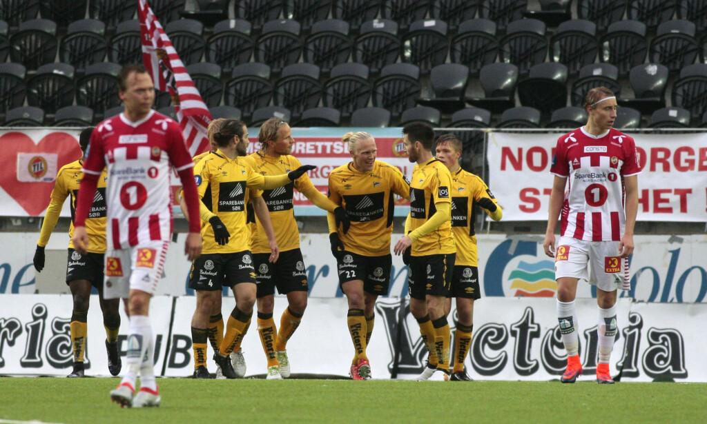 I TRØBBEL: Lars-Jørgen Salvesen ble matchvinner da tabelljumbo Start slo Tromsø 2-1 i Kristiansand. Foto: Tor Erik Schrøder / NTB scanpix