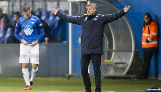 <strong>SKUFFET:</strong> Ole Gunnar Solskjær var ikke fornøyd med prestasjonen hjemme mot Sogndal. Foto: Svein Ove Ekornesvåg / NTB scanpix
