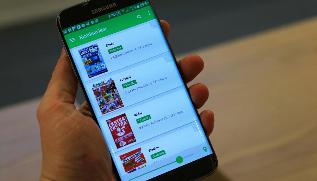 <strong>ALT PÅ TELEFONEN:</strong> Lei av reklameblekker i postkassa? Shopgun gir deg alle relevante på mobiltelefonen. Foto: Pål Joakim Pollen