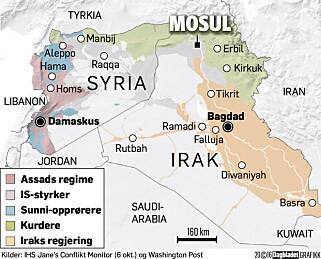 KAMPER: Mosul, nord i Irak, er gjenstand for en stor menneskelig tragedie.