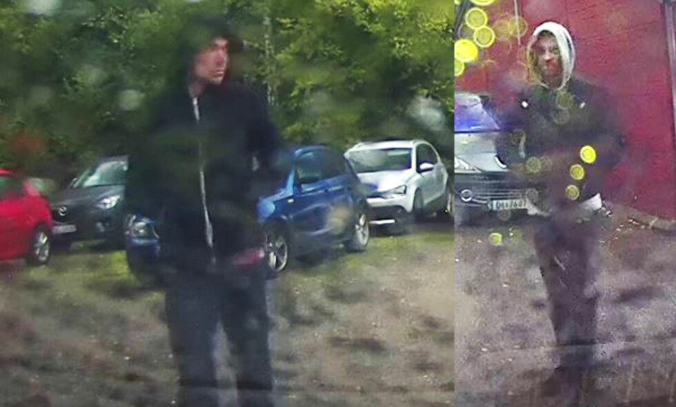 TO ETTERLYST, ÉN PÅGREPET: Politiet offentliggjorde tidligere denne måneden bilder av to personer sett på kidnappingsåstedet. De mener den ene er identisk med mannen som nå sitter arrestert i Spania, den andre er fremdeles på frifot. Foto: Politiet