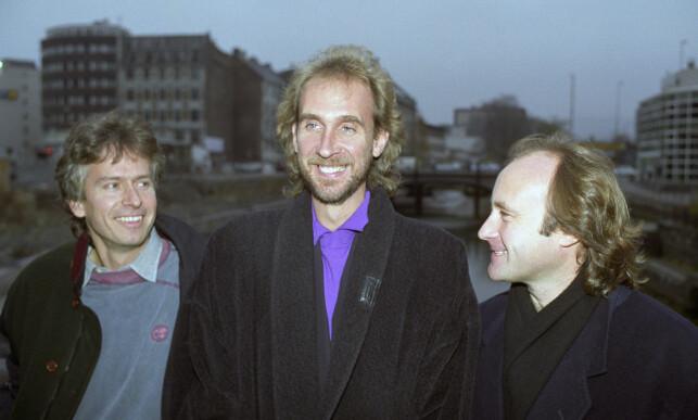 BESØKTE NORGE: I 1991 besøkte Phil Collins Norge med popgruppa Genesis. (F.v). Tony Banks, Mike Rutherford og Phil Collins. Foto: Bjørn-Owe Holmberg / NTB / SCANPIX