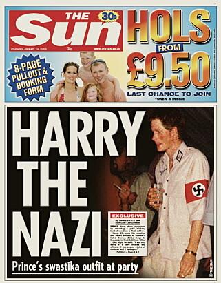 MÅTTE BEKLAGE: Da den britiske storavisa The Sun publiserte dette bildet på forsida si, var det britiske kongehuset raskt ute med å beklage. Foto: REUTERS, NTB scanpix