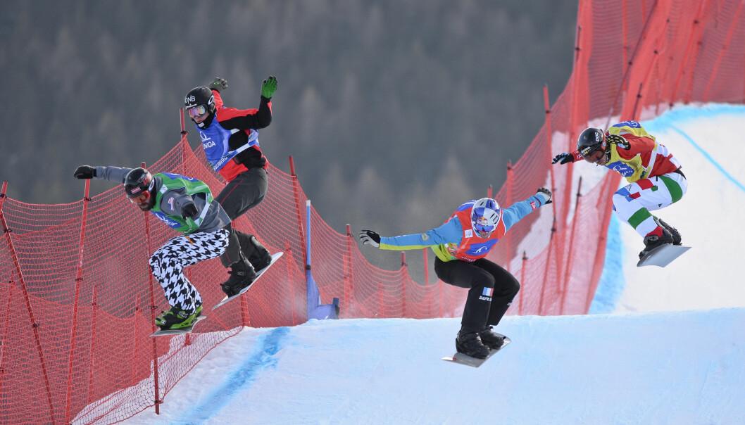 <strong>VIL TILBAKE:</strong> Stian Sivertzen (nummer to fra venstre) under et renn i Østerrike i 2015. Den norske boardercrosskjøreren er likevel innstilt på å komme tilbake i toppform. Foto: NTB Scanpix