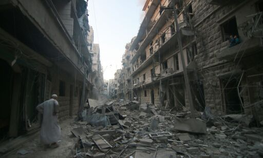 image: Kamper ved en av Aleppos «humanitære korridorer»