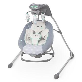 <strong>ELEKTRISK VIPPESTOL:</strong> Noen foreldre bruker vippestol til å roe ned barnet. Denne er elektrisk, og kan både svinge, vibrere og spille musikk. Foto: Brightstart