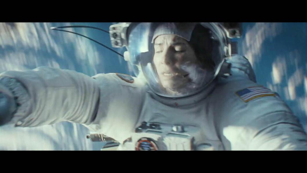 <strong>VERDENSROM-THRILLER:</strong> «Gravity» forteller historien om to astronauter som blir fanget i verdensrommet etter at deres romskip blir skadet. Foto: Stella Pictures