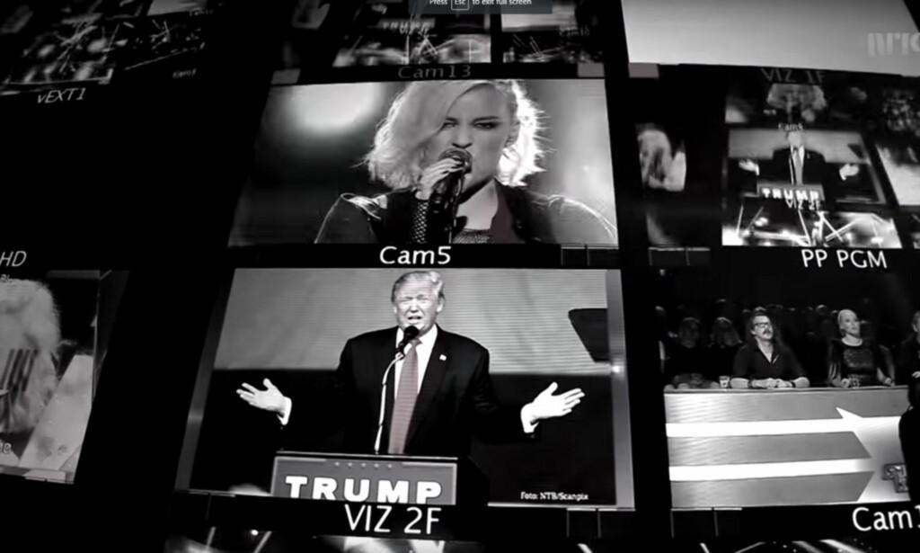 TØFF I TRYNET: Under Nicoline Berg Kaasins framføring av Green Day-låta «American Idiot» klippet NRK inn bilder av den omstridte presidentkandidaten Donald Trump. Foto: Skjermdump / NRK