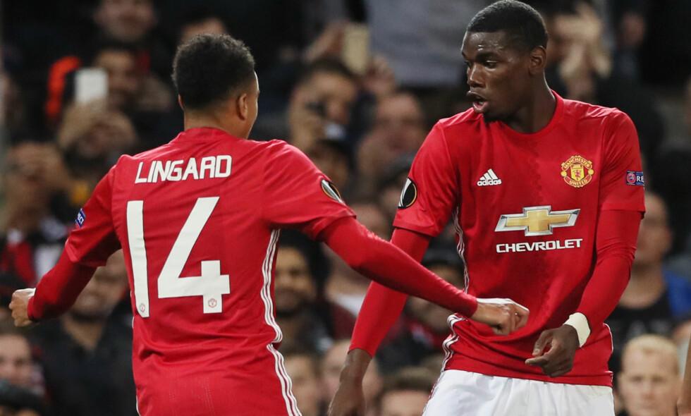 RØD EKSTASE: Paul Pogba (til høyre) scoret to mål. Det ble feiret med dans. Foto: NTB Scanpix