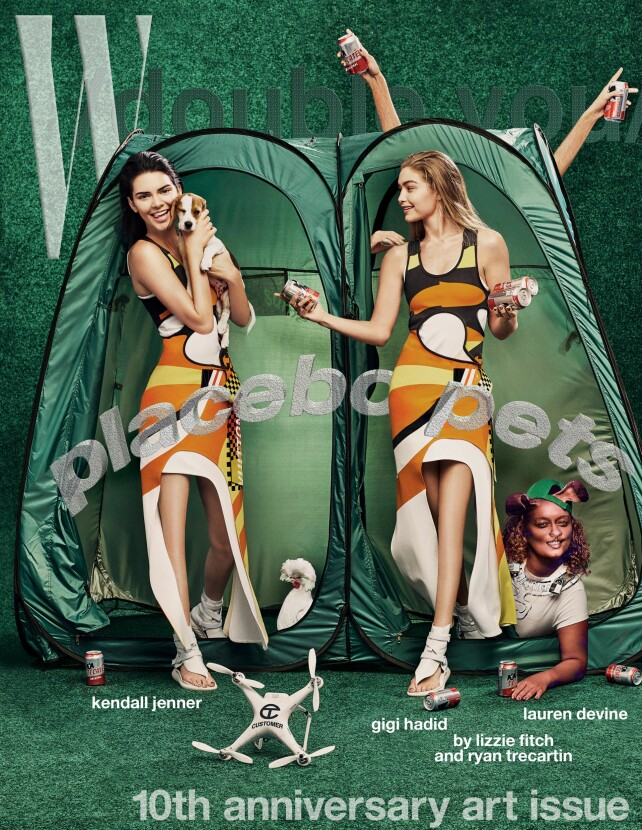 KNELØSE: Kendall Jenner og Gigi pryder forsida av W Magazine sin kunstutgave. Det etter mye retusjering, som blant annet har sørget for at knærne deres har forsvunnet. Faksimile: W Magazine