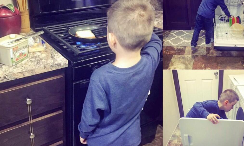 <strong>HJELPER TIL:</strong> 23 år gamle Nikkole oppfordrer sønnen til å hjelpe til hjemme, slik at han en dag vil klare seg fint selv. Foto: Privat