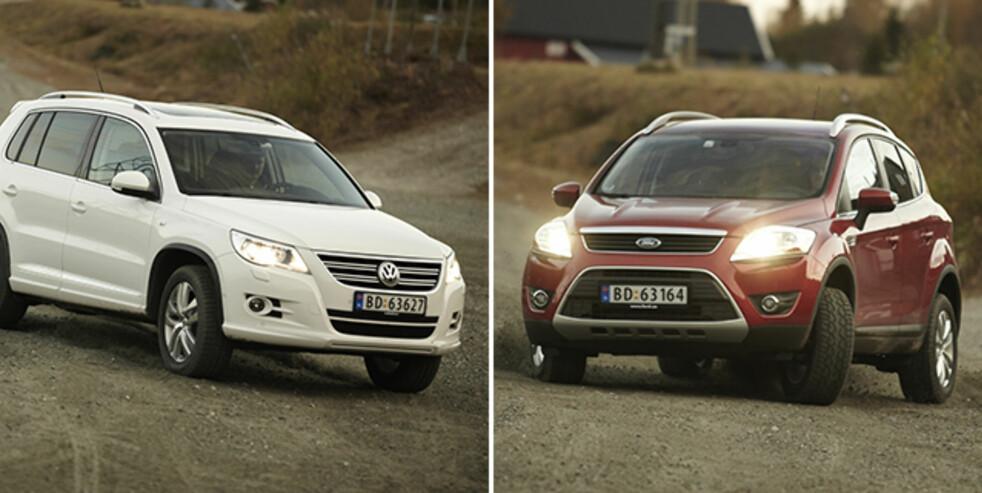 <strong>POPULÆRE:</strong> Både VW Tiguan og Ford Kuga er gode valg på bruktbilmarkedet. Foto: Autofil