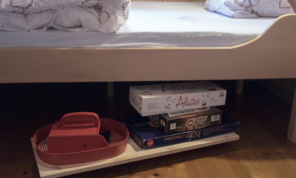 UTNYTT PLASSEN: Ting som ligger under sengen kan fort gå i glemmeboken. Legg de på en hylle med hjul og gjør plassen under sengen mer tilgjengelig enn før. FOTO: Simen Søvik