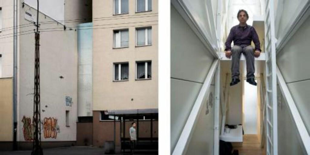 GOD UTNYTTELSE AV PLASS: Det tynne huset er presset inn i en ledig glippe mellom to bygninger.  FOTO: Polish Modern Art Foundation, The National Centre for Culture