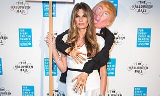 KONTROVERSIELT KOSTYME: Jemima Goldsmiths «Original Trump Groper»-kostyme er til salgs på nettet, mens mange tar avstand fra antrekket. Foto: David Fisher/REX/Shutterstock