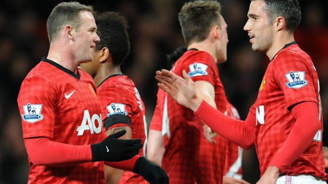 <strong>SCORET TO:</strong> Wayne Rooney (t.v.) scoret begge Uniteds mål da de dro i land en heldig seier mot Southampton. Foto: Peter Powell / EPA / NTB Scanpix
