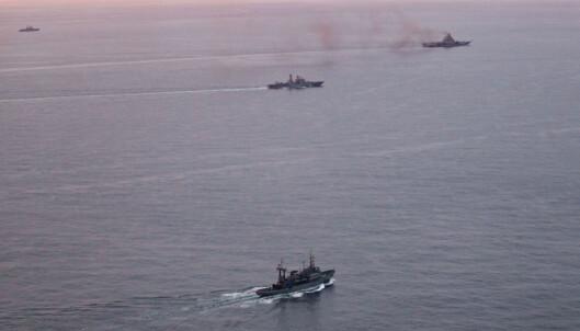 <strong>DAMPER AV GÅRDE:</strong> Det er en gammel og sliten flåte som damper mot Middelhavet i disse dager. Foto: Forsvaret
