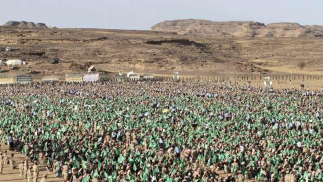<strong>STOR INNFLYTELSE:</strong> Houthi-tilhengere på en seremoni til ære for profeten Muhammeds bursdag, 24. januar i år. Foto: Reuters / NTB Scanpix
