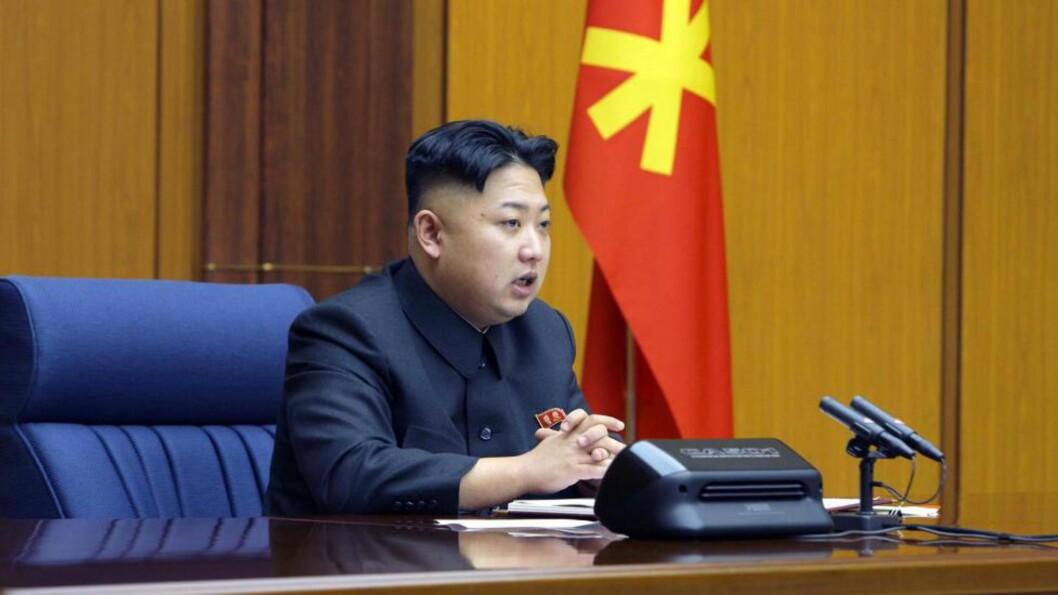 <strong>TROSSET ADVARSLER:</strong> Kim Jong-Un prøvesprengte atomvåpen i natt, og vil fortsette å skyte opp langdistanseraketter. Foto: AFP/KNCA/NTB Scanpix