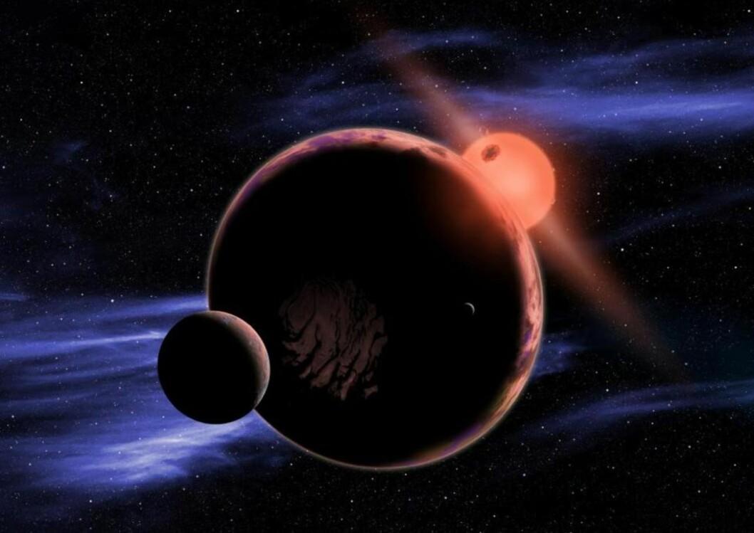 ET STED FOR LIV? Data fra romteleskopet «Kepler» viser at jordliknende planeter trolig kan dannes i den beboelige sonen rundt røde dverger. Disse stjernene er mye mindre og kjøligere enn sola, men de finnes i et enormt antall. Ifølge NASA kan den nærmeste jordliknende planeten dermed ligge i vårt eget nabolag, bare 13 lysår unna. Foto: D. Aguilar  / Harvard-Smithsonian Center for Astrophysics