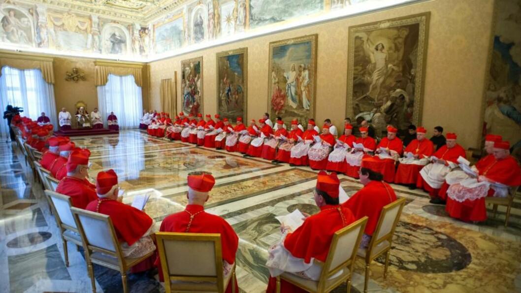<strong>AVGANG:</strong> Pave Benedikt XVI forteller kardinalene om sin abdikasjon. Maktkampen blant kardinalene om hvem som skal ettetrfølge ham er i gang. Foto: AFP / Scanpix / OSSERVATORE ROMANO