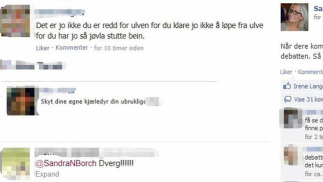 <strong>Offentliggjort:</strong> Anne-Kat Hærland gikk ut med fullt navn på avsenderne av disse tre meldingene. Foto: Skjermdump / Facebook