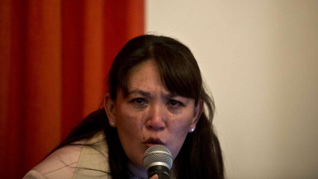<strong>SNAKKET UT:</strong> Blanca Castro var kona til en av sektlederne, men hadde ikke mye fint å si om sekten Defendores de Cristo da hun holdt pressekonferanse i Mexico by tirsdag. Foto: AFP / Ronaldo Schemidt / NTB Scanpix.