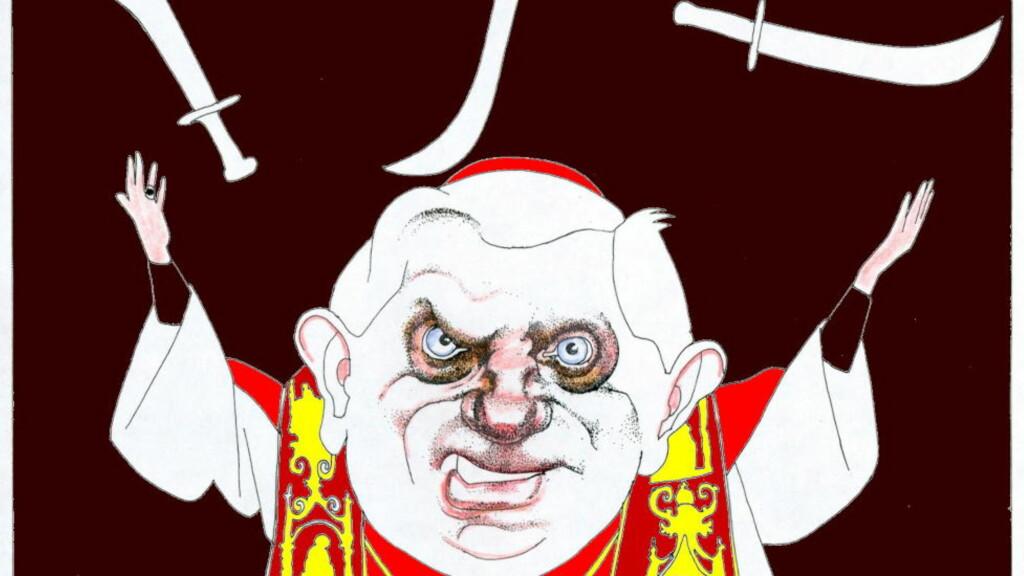 SJONGLERER MED KNIVER: Ikke bare paven har vanskelig for å sjonglere de religiøse dogmene i vår tid. Og ikke alltid er det nok å komme med tvetydigheter for å dekke over religionenes paradokser. Illustrasjon: Finn Graff