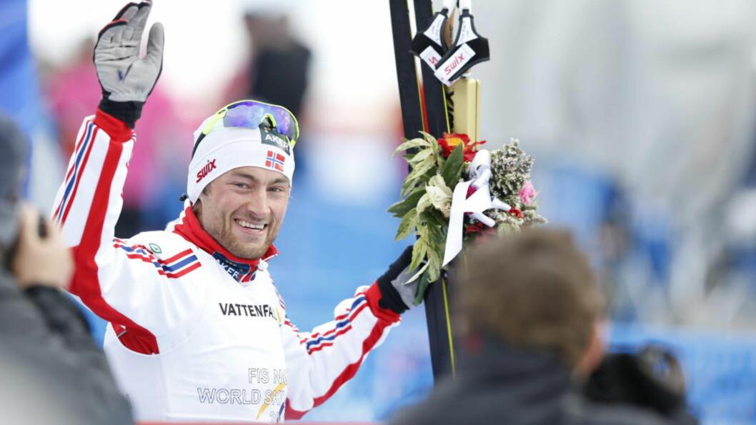 <strong>VERDENS BESTE PETTER:</strong> Petter Northug var utilnærmelig da han i dag tok sitt tiende mesterskapsgull. Bjørn Dæhlie - som vant 17 - ble dypt imponert. Foto: Bjørn Langsem
