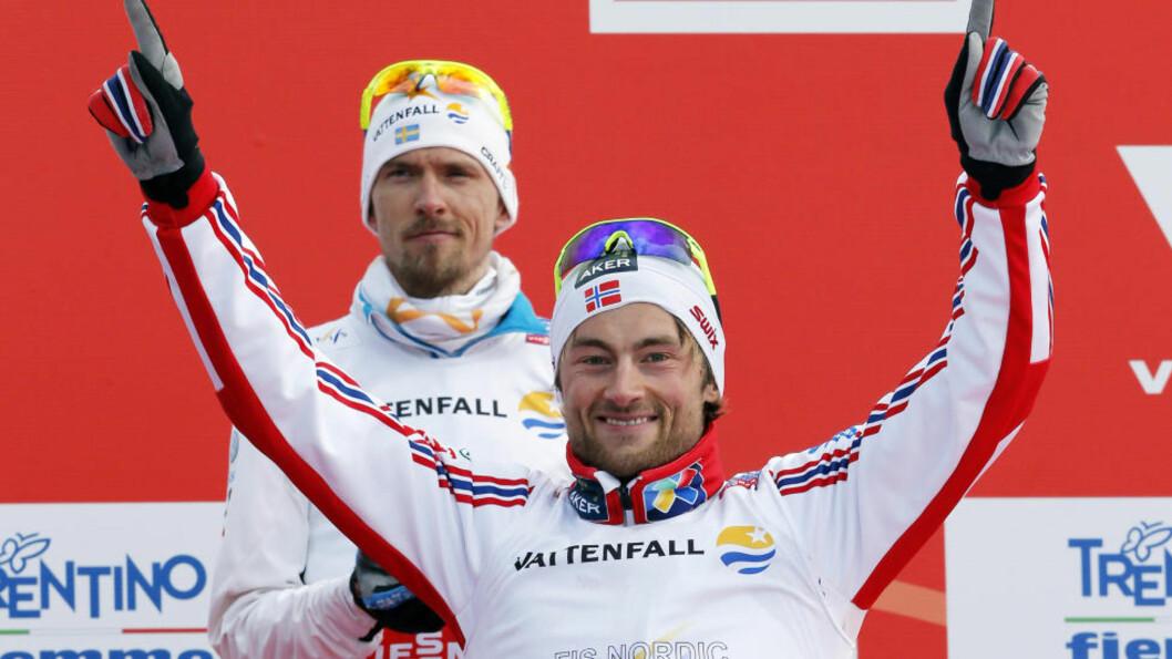 <strong>EN ROLLEMODELL:</strong> Petter Northug har vunnet respekten til Johan Olsson og er blitt en av svenskens store forbilder. I går tok Petter Northug gullet på 15 kilometer, drøye ti sekunder foran Olsson. Foto:  REUTERS/Giampiero Sposito