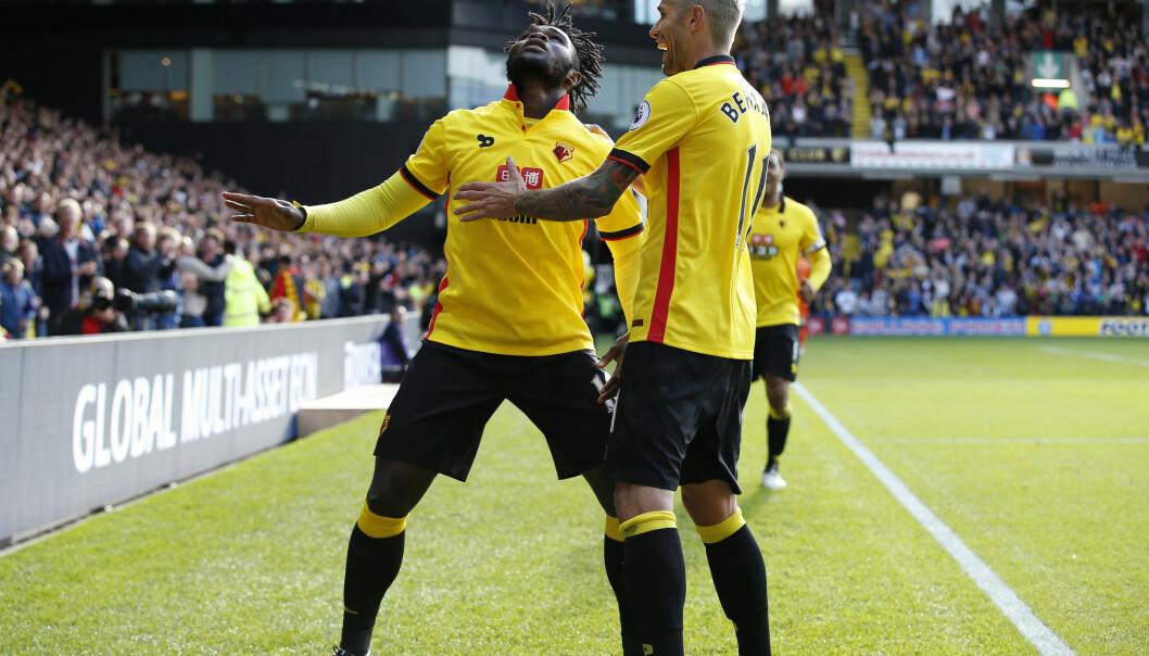 <strong>ETTERFORSKES:</strong> Watford er under etterforskning og kan risikere å miste poeng. Her feirer Isaac Success scoring. Foto: Reuters / Andrew Couldridge&nbsp;