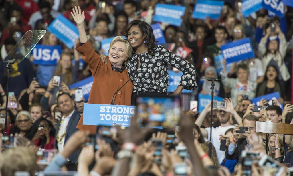 VIKTIG VÅPEN: Michelle Obama er superpopulær og har velvillig stilt opp i Hillary Clintons favør. Foto: Øistein Norum Monsen / Dagbladet